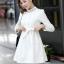 ชุดทำงานแฟชั่นเกาหลีสวยๆ มินิเดรสน่ารัก เดรสสั้น แขนยาว สีขาว คอประดับคริลตัล ( S M L XL ) thumbnail 2