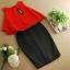 ชุดเชตเสองชิ้นเข้าชุด เสื้อ กระโปรง โทนสีแดง ดำ เรียบๆ ดูดี สไตล์แฟชั่นเกาหลี thumbnail 5