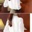 เสื้อทำงานแฟชั่นสไตล์เกาหลีสวยๆ เสื้อแขนยาวสีขาว คอปกลูกไม้สีดำเก๋ๆ ผ้าชีฟอง กระดุมผ่าหน้า thumbnail 6