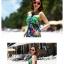 ชุดเดรสเที่ยวทะเลยาวสีม่วงเขียว พิมพ์ลาย เย็บคล้องคอ ใส่ไปเที่ยวทะเล สวยเก๋ thumbnail 2