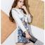 ชุดเดรสน่ารักแฟชั่นเกาหลี สีขาว พิมพ์ลายเก๋ๆ คอปก แขนยาว ผ้าโพลีเอสเตอร์เนื้อหนา มีซิปหลัง thumbnail 4