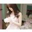 ชุดเดรสสั้นเกาหลีน่ารัก เดรสสั้นลูกไม้สีชมพูอ่อนลายดอกไม้ คอกลม แขนกุด thumbnail 8