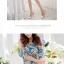 ชุดเดรสสั้นสีฟ้า ลายดอกไม้ แขนสั้น เย็บเปิดไหล่ ทรงหลวม สวยหวาน thumbnail 5