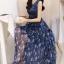 ชุดเดรสยาวสีน้ำเงินกรมท่า แขนกุด กระโปรงลายดอกไม้ผ้าชีฟองสวยพลิ้ว แนวเกาหลี สวยหวาน ดูดี thumbnail 3
