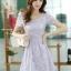 ชุดเดรสทำงานแฟชั่นเกาหลี ชุดเดรสทำงานสวยๆ ชุดเดรสน่ารัก ชุดเดรสสั้น ชุดเดรสลูกไม้ ผ้าลูกไม้ คอกลม แขนสั้น ( S,M,L,XL ) thumbnail 5