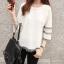เสื้อสีขาว แขนยาวแต่งระบายสวยๆ ทรงตรงใส่สบาย แฟชั่นเกาหลี