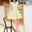 ชุดทำงานแฟชั่นเกาหลีสวยๆ ชุดทำงานออฟฟิศ ชุดเซ็ท 2 ชิ้น เสื้อคลุม + มินิเดรสสั้นสีเหลือง ผ้า Jacquard ( S,M,L,XL ) thumbnail 13