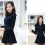 ชุดเดรสน่ารักแฟชั่นเกาหลี สีกรมท่า ผ้าคอลตอล คอปกเชิ้ต แขนยาว กระดุมผ่าหน้า thumbnail 4