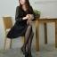 ชุดเดรสทำงานแฟชั่นสไตล์เกาหลี ชุดแซกกระโปรงสั้นสีดำ ผ้าเนื้อทราย เนื้อผ้ายืดได้นิดหน่อย แขนยาวผ้าชีฟอง thumbnail 5