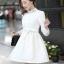 ชุดทำงานแฟชั่นเกาหลีสวยๆ มินิเดรสน่ารัก เดรสสั้น แขนยาว สีขาว คอประดับคริลตัล ( S M L XL ) thumbnail 3