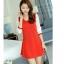 ชุดเดรสสั้นสีแดง เรียบร้อยน่ารัก สดใส แขนสามส่วน กระโปรงทรงบานปลายสวยเก๋ thumbnail 4