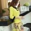 ชุดเดรสทำงาน แนวสวยหวานน่ารัก สีเหลือง คอปก แขนสี่ส่วน เอวเข้ารูป กระโปรงลายดอกไม้ S M L XL thumbnail 6