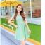 ชุดเดรสทำงานแนวหวานน่ารักๆ สีเขียวลายจุด แขนสั้น กระโปรงบาน thumbnail 2