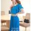 ชุดเดรสออกงาน,ชุดไปงานแต่งงานสวยๆ ชุดเดรสยาว สีฟ้า ผ้าชีฟอง ให้ลุคสาวหวานสไตล์เกาหลี สวยหรู ดูดี ( S M L ) thumbnail 3