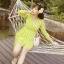 ชุดเดรสสั้นสีเขียว ลายนกน่ารักสดใส คอวี แขนยาว เอวเข้ารูป thumbnail 5