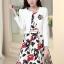 ชุดเดรสทำงานเกาหลี เดรสสั้นพิมพืลายดอกไม้สีแดงดำ มาคู่กับเสื้อสูทตัวสั้นสีขาว เนื้อผ้าดี ทำให้คุณสาวๆ ดูสวยง่า ( M L XL XXL ) thumbnail 5