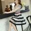 ชุดเดรสสวยๆสไตล์เกาหลี ชุดเดรสสั้น ลายขวาง คอกลม แขนกุด กรโปรงผ้าแก้วทรงสุ่ม ( S M L XL ) ให้ลุคสวยหวาน น่ารัก thumbnail 2