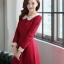 ชุดแซกทำงานเรียบร้อยสวยๆ สีแดง คอปก แขนยาว ผ้าคอตตอล ไซส์ S M L thumbnail 4