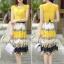 ชุดเดรสยาวสีเหลือง กระโปรงพิมพ์ลายดอกไม้ ผ้าชีอง เสื้อแขนสั้น คอกลม แนวหวาน thumbnail 2