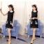 ชุดเดรสสั้นสีดำ คอปก แขนกุด พิมพ์ลายห่านคู่น่ารักๆ แฟชั่นสวยๆสไตล์เกาหลี thumbnail 2