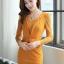 ชุดทำงานออฟฟิศแฟชันเกาหลี ชุดเดรสสั้นเข้ารูปสีเหลือง คอกลม แขนยาวลูกไม้ซีทรู เอวแต่งระบายจับจีบเก๋ๆ ,S M L