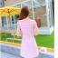 ชุดเดรสทำงานสีชมพูแนวหวานน่ารักๆ สีชมพูลายจุด แขนสั้น กระโปรงบาน thumbnail 7