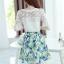 ชุดเซ็ท 2 ชิ้น เสื้อสีขาวแขนสามส่วน คู่กระโปรงพิมพ์ลายดอกไม้น่ารักๆ สีฟ้า thumbnail 6