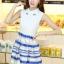 ชุดออกงานสวยๆแฟชั่นเกาหลี สีน้ำเงิน ผ้าลูกไม้ เหมาะกับการใส่ทำงาน หรือจะใส่ออกงาน ไปงานแต่งงานก็ได้ จะให้ลุคที่สวยสง่า thumbnail 2