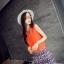 ชุดเซตเสื้อ-กระโปรงโทนสีส้มแนวเกาหลี เสื้อสีส้มแขนกุด + กระโปรงสั้นทรงเอพิมพ์ลายสวยๆ thumbnail 2