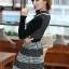 ชุดทำงานออฟฟิศ คุณครู ราชการ ชุดแซกกระโปรงสั้น ลายตาราง สีดำ แขนยาว ชุดเดรสสวยหวาน น่ารัก แฟชั่นสไตล์เกาหลี ( M,L,XL) thumbnail 5