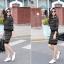 ชุดเดรสแฟชั่นสไตล์เกาหลีสวยๆ ชุดเซ็ดแยกชิ้นสีดำ เสื้อแขนยาว , กระโปรงสั้นเข้ารูป ผ้าไหมพรม เนื้อผ้ายืดได้ thumbnail 5