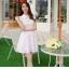 ชุดเดรสสั้นน่ารัก สีม่วง ผ้าลูกไม้ คอปก เอวเข้ารูป กระโปรงบานทรงสวิง ,S M L XL thumbnail 2