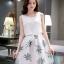 ชุดเดรสสีขาวกระโปรงลายใบไม้สีเขียว แขนกุด แนวเกาหลี ลุคสาวสวยหวานน่ารัก ดูสดใส thumbnail 1