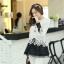 เสื้อแฟชั่นเกาหลีน่ารักๆ เสื้อแขนยาวลูกไม้ สีขาว ขาว คอกลม ปลายเสื้อแต่งด้วยผ้าแก้ว, S M L thumbnail 5