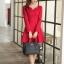ชุดเดรสทำงานสวยๆ สีแดง คอกลม แขนยาว เนื้อผ้าดี ,S M L XL thumbnail 10