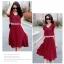 ชุดเดรสทำงานสีแดง ผ้าชีฟอง ลุคสาวหวาน เรียบร้อย สวยๆ สไตล์คุณครู สาวออฟฟิศ thumbnail 3