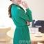 ชุดเดรสทำงานแนววินเทจ สีเขียว ผ้าชีฟอง คอเต๋า แขนยาว กระโปรงพลีท เป็นชุดเดรสหวาน แบบสวย น่ารัก สไตล์แฟชั่นเกาหลี ( M L ) thumbnail 3