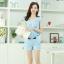 ชุดเดรสแฟชั่นเกาหลี ชุดเดรสแฟชั่นน่ารัก ชุดเชตเสื้อคอกลมแขนกุด + กางเกงขาสั้น ( M, L, XL ) thumbnail 4