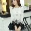เสื้อแฟชั่นเกาหลีน่ารักๆ เสื้อแขนยาวลูกไม้ สีขาว ขาว คอกลม ปลายเสื้อแต่งด้วยผ้าแก้ว, S M L thumbnail 3