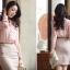 เสื้อทำงานแฟชั่นสไตล์เกาหลีสวยๆ เสื้อแขนยาวสีชมพู คอจีน กระดุมผ่าหน้า ผ้าชีฟองเนื้อผ้าบางเบาใส่สบาย thumbnail 6