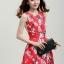 ชุดแซกกระโปรงใส่ทำงาน สีแดง พิมพ์ลายดอกซากุระ ผ้าคอลตอลอัดลายดอกไม้ ซิปหลัง , thumbnail 4