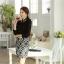 เสื้อทำงานแฟชั่นสไตล์เกาหลีสวยๆ เสื้อแขนยาวสีดำ ผ้าชีฟอง คอจีนประดับมุก ,เสื้อทำงานสวยๆราคาถูก thumbnail 3