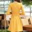 ชุดเดรสทำงานสวยๆ สีเหลือง คอปกปักเลื่อมเก๋ๆ แขนยาว ซิปหลัง กระโปรงทรงสวิง ผ้าโพลีเอสเตอร์ thumbnail 2