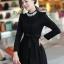 ชุดทำงานแฟชั่นเกาหลีสวยๆ มินิเดรสน่ารัก เดรสสั้น แขนยาว สีดำ คอประดับคริลตัล ( S M L XL )