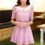 ชุดทำงานแฟชั่นเกาหลี มินิเดรสสวยๆ ชุดประโปรงสั้น คอปก แขนสั้น ผ้า organza สีม่วง ( S M L XL ) thumbnail 5