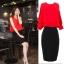 ชุดเชตเสองชิ้นเข้าชุด เสื้อ กระโปรง โทนสีแดง ดำ เรียบๆ ดูดี สไตล์แฟชั่นเกาหลี thumbnail 3