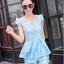 ชุดเซ็ทสองชิ้นเข้าชุดสีฟ้า สวยหรู ดูดี แฟชั่นสไตล์เกาหลี thumbnail 5