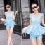 ชุดเซ็ทสองชิ้นเข้าชุดสีฟ้า สวยหรู ดูดี แฟชั่นสไตล์เกาหลี thumbnail 6