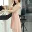 ชุดเดรสออกงานสวยๆ ชุดเดรสสั้น สีชมพู ผ้าชีฟอง ใส่ไปงานแต่งงาน ออกงานเลี้ยง ให้ลุคสาวหวานสไตล์เกาหลี สวยหรู ดูดี ( S M L XL ) thumbnail 7