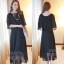 ชุดเดรสยาวแฟชั่นเกาหลี สีดำ ผ้าชีฟอง ผ่าไหล่เก๋ๆ เป็นชุดเดรสสวยหวาน น่ารัก ดูเรียบร้อย ( S M L XL ) thumbnail 2